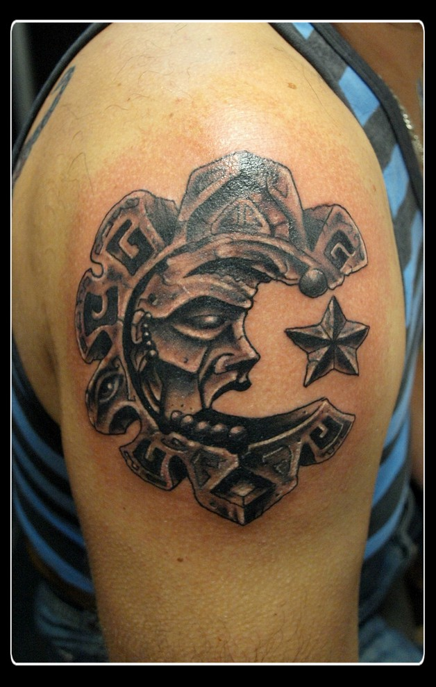 aztec tattoo with stars tattoo photo - 2