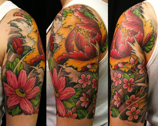 Beautiful flowers and grey wave tattoos on half sleeve beautiful flowers and grey wave tattoos on half sleeve photo 1 buycottarizona Image collections