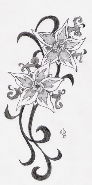 black and white stars and lotus flower tattoo for girls photo - 1