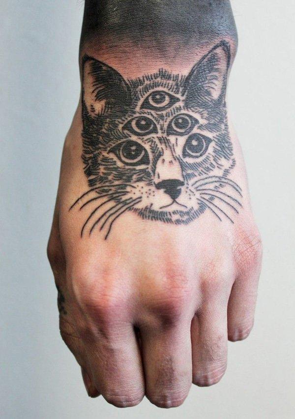 black cat with rose tattoo design photo - 2