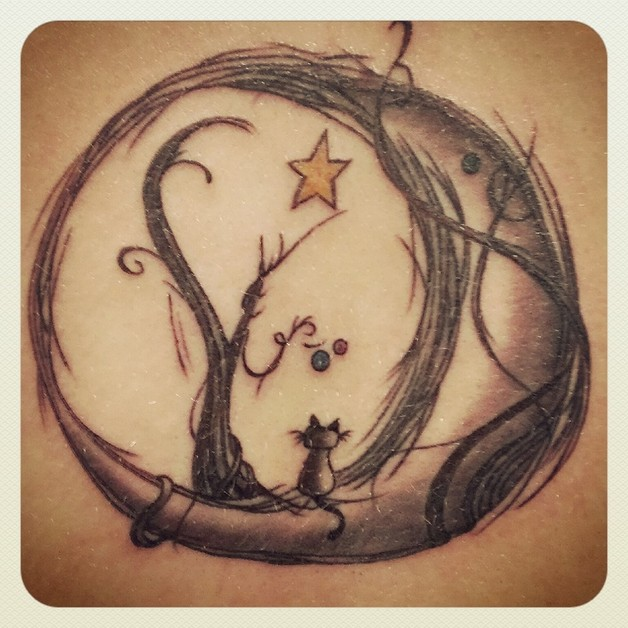 Black moon and stars tattoos for Stars and moon tattoo