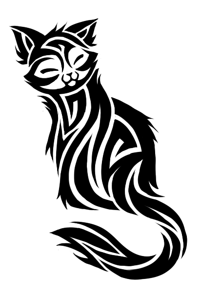 Black n white cat tattoo design