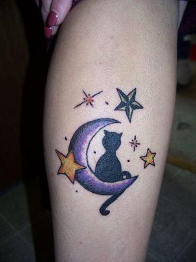 black sitting cat tattoo on leg photo - 2