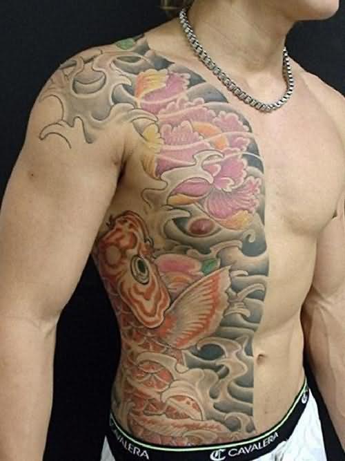 black white buddhist tattoo on chest photo - 2