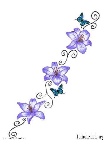 blue daisy flowers tattoo design photo - 2