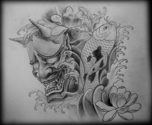 blue demon mask tattoo with flowers photo - 2