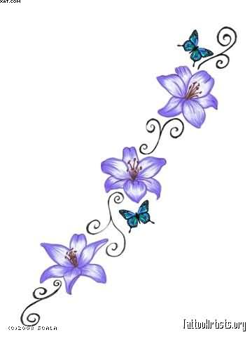 blue lily and star waist tattoos photo - 2