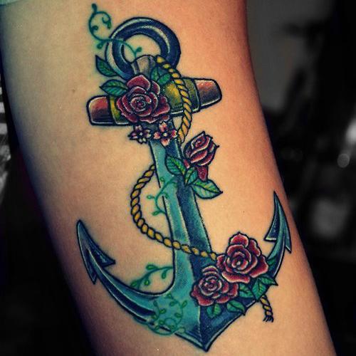 blue nautical star tattoo on wrist photo - 2