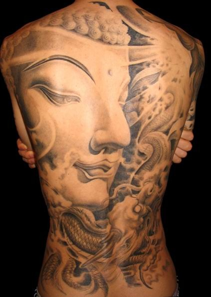 buddhist back body tattoo design photo - 2