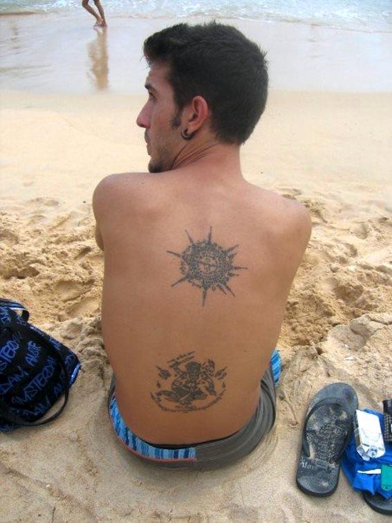 buddhist tattoo design on back for men photo - 1