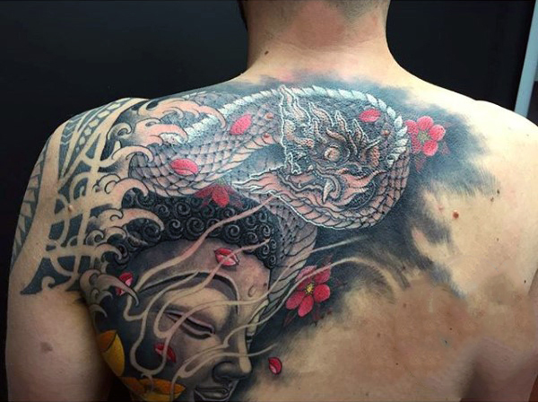 buddhist tattoo design on back for men photo - 2