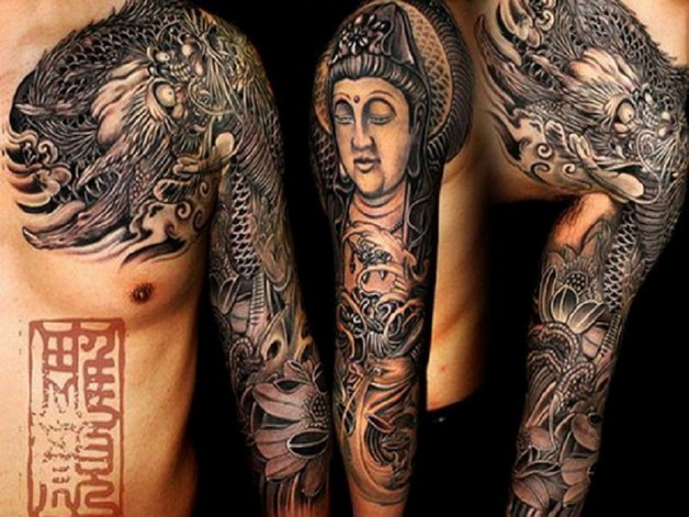 buddhist tattoo design on shoulder photo - 1