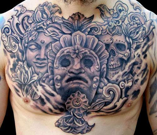 buddhist tattoo on chest for men photo - 2