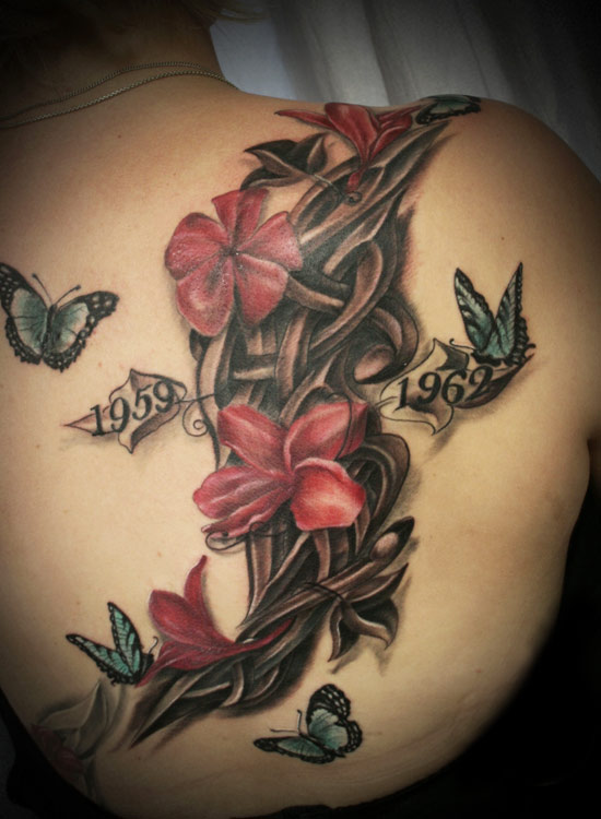 buddhist tattoo with flowers photo - 1