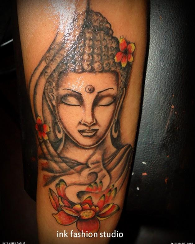 buddhist tattoo with flowers photo - 2