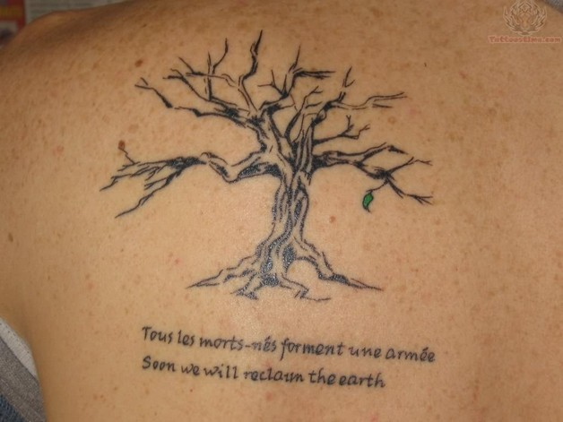 buddhist tattoo with tree on shoulder back photo - 1