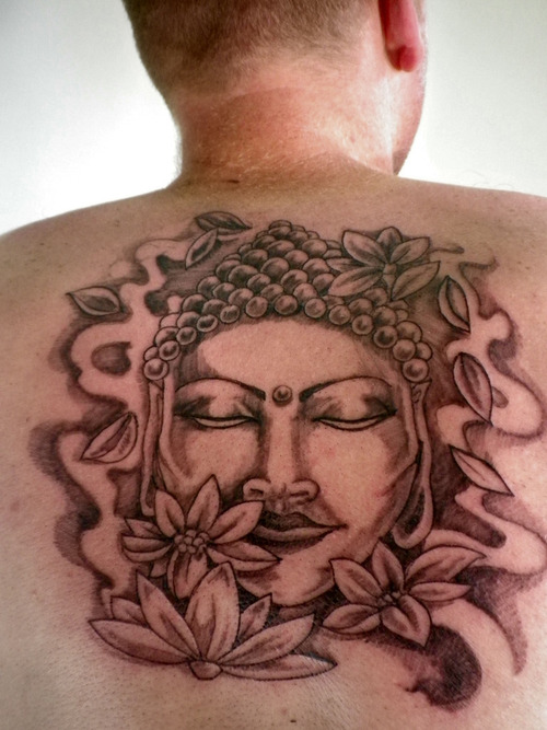 buddhist temple tattoo on upper back photo - 2