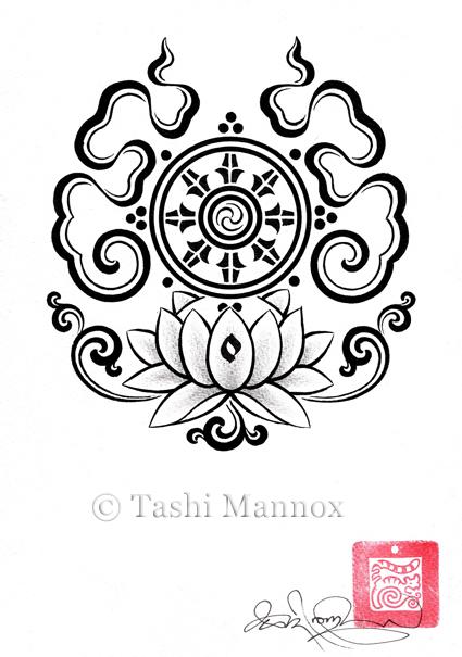 buddhist wheel tattoo design photo - 2