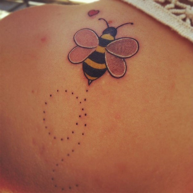 bumblebee with flowers tattoo design photo - 1