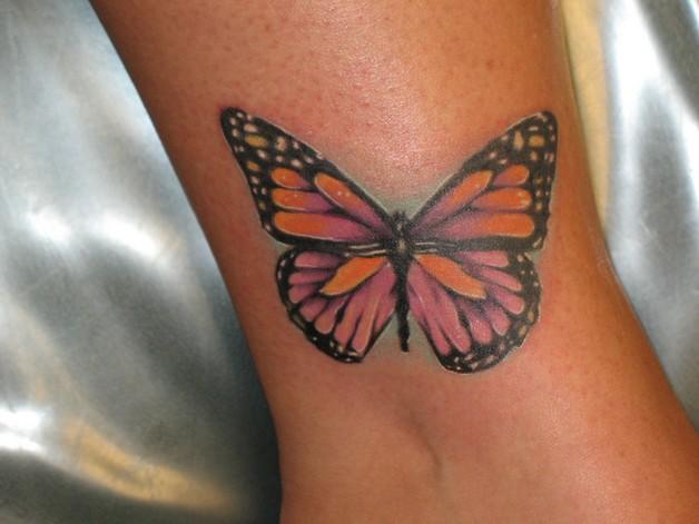 butterflies on flower feminine tattoo design photo - 1