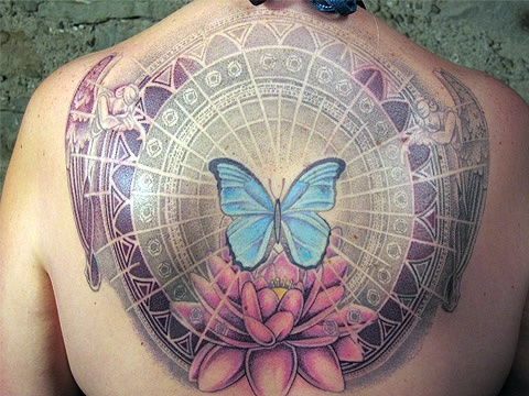 Butterfly lotus angel wing memorial flowers angels insects for Lotus flower and butterfly tattoo designs