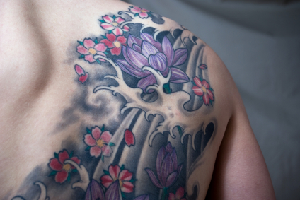 Butterfly lotus angel wing memorial flowers angels insects for Japanese wave and flower tattoo