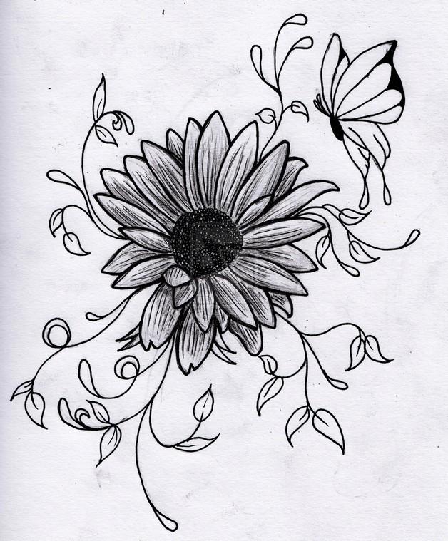 butterfly on sunflower tattoo design all tattoos for men