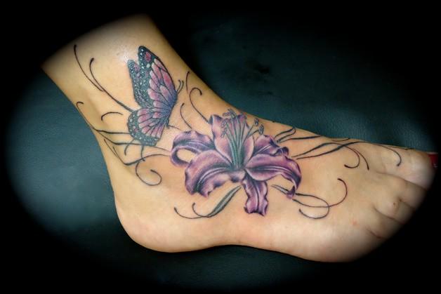 butterfly sunflower shoulder tattoos photo - 1