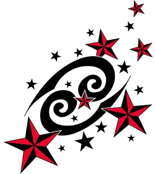 cancer sign tattoo with nautical stars photo - 1
