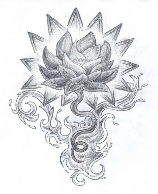 candle with flowers tattoo design photo - 1