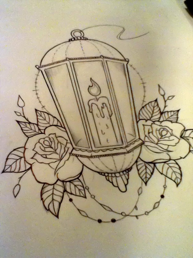 candle with flowers tattoo design photo - 2