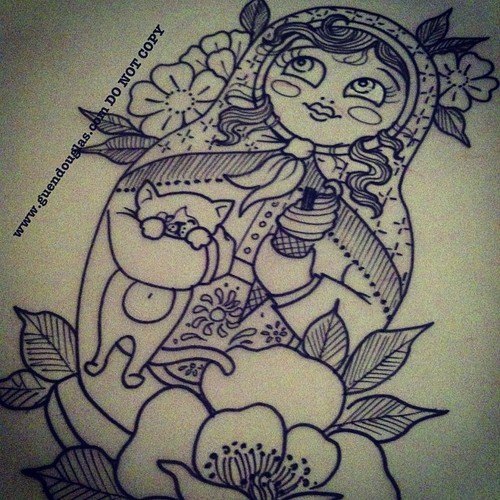 cat and matryoshka tattoo for girls photo - 1
