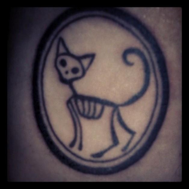 cat skeleton tattoo photo - 2