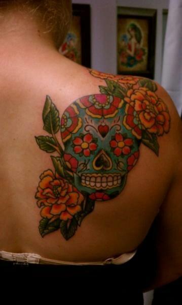 coffin flowers tattoo design photo - 1