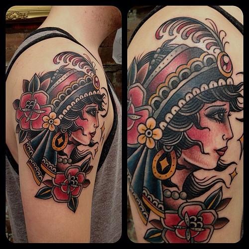 coffin flowers tattoo design photo - 2