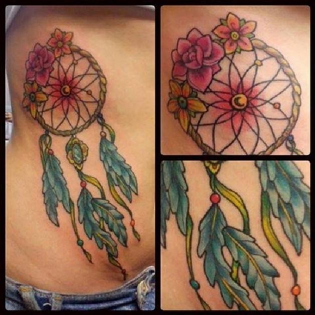 color dream catcher tattoo design photo - 2