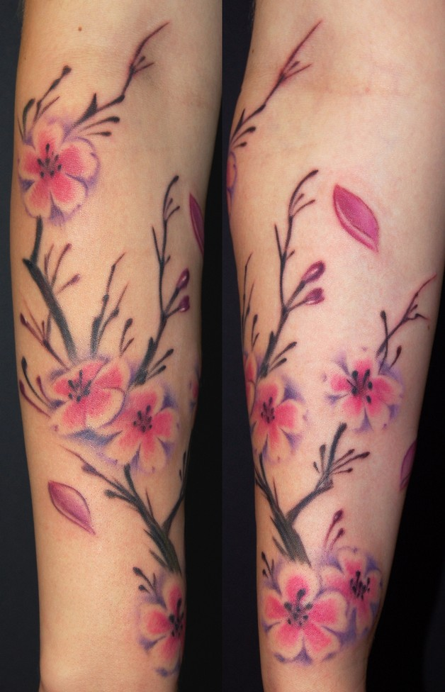 colorful feminine leg tattoo design photo - 1