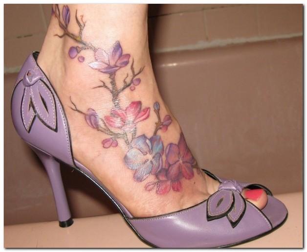 colorful flowers n hummingbird tattoo design photo - 1