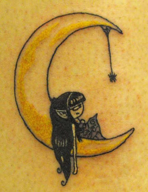 crescent moon and star tattoo designs. Black Bedroom Furniture Sets. Home Design Ideas