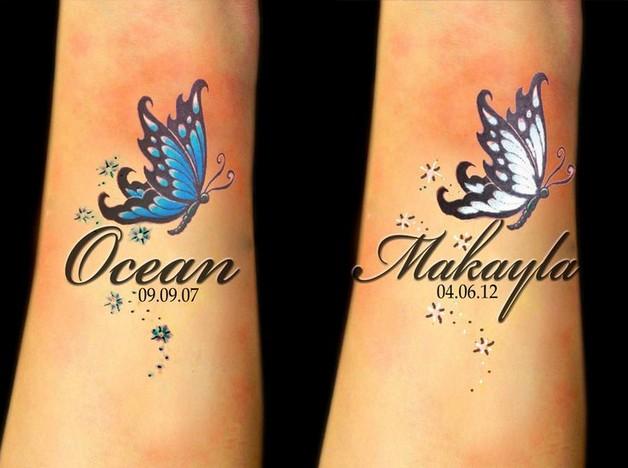 cute butterfly on flowers tattoo photo - 1