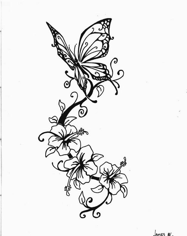 cute butterfly on flowers tattoo photo - 2