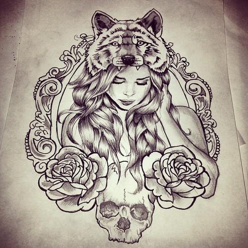 cute cat in mirror tattoo design photo - 2