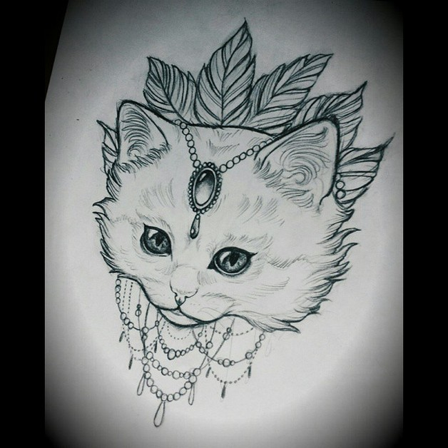 Line Drawing Cat Tattoo : Cute cat tattoo