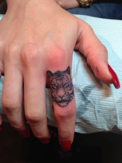 cute cat tattoo on finger photo - 1