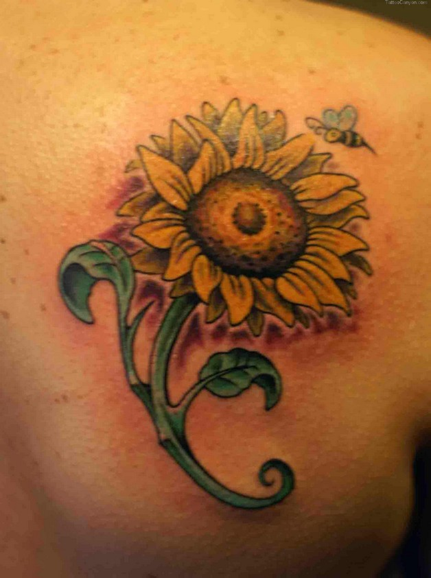 cute sunflower with bow tattoo on back shoulder photo - 1