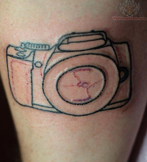 daisy flowers camera film tattoo on shoulder back photo - 2