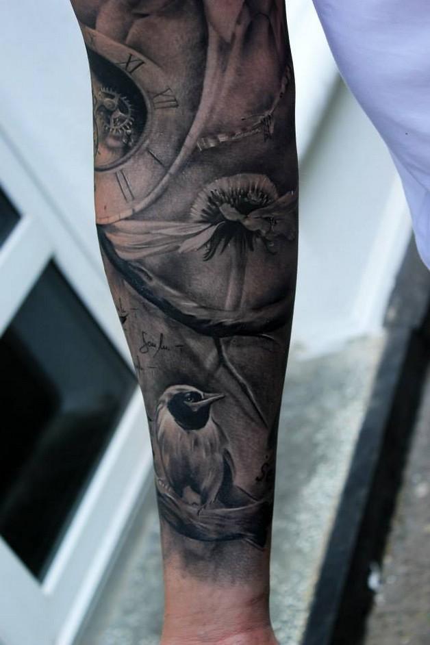 daisy flowers tattoo on sleeve. Black Bedroom Furniture Sets. Home Design Ideas