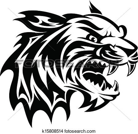 danger sign cat face tattoo design photo - 2