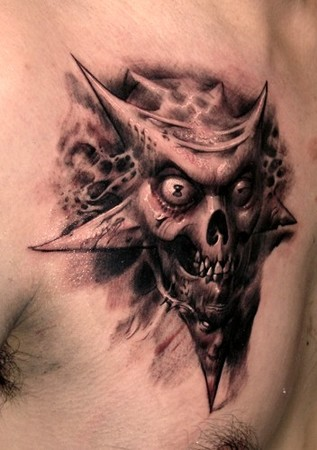 demon star skull tattoo design photo - 1