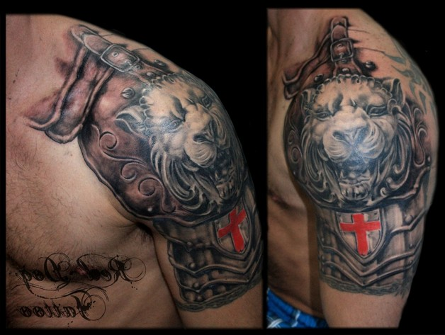 dog with tongue out tattoo on biceps photo - 1